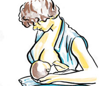 Tư thế cho con bú bế con dưới cánh tay mẹ là 1 trong 5 tư thế cho bé bú dễ chịu nhất1