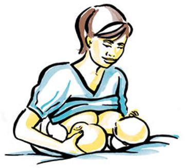 Tư thế cho con bú áp dụng cho các mẹ có con song sinh vừa giúp mẹ dễ chịu vừa giúp bé bú tốt hơn. Các mẹ có bé song sinh có thể tham khảo nhé!